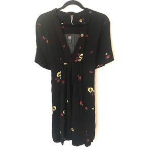 Free People Small Black Strawberry Print Dress